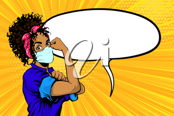 We Can Do It black african woman in medical mask retro poster. Cartoon vintage girl with pink bow in pop art style. Empty speech bubble for text. Black pop art woman on yellow rsdial background.