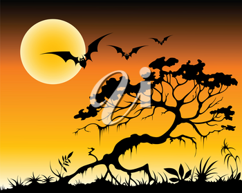 halloween background with bats and silhouette of tree by moon night