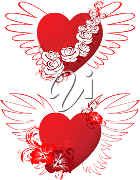 red hearts with floral ornament and wings for Valentine's day
