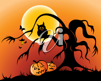 halloween background with pumpkin, owl and silhouette of tree by moon night