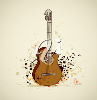 Music grunge background with guitar and notes
