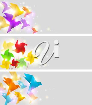 Bright vector banners with origami birds