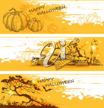 Vector yellow hand drawn Halloween  banners