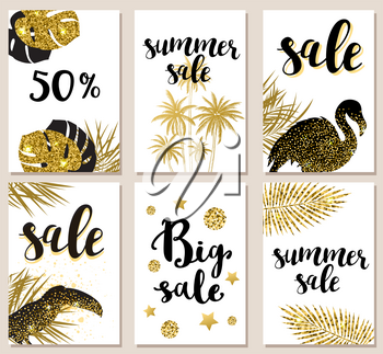 Set of summer tropical glitter vector cards for seasonal sale