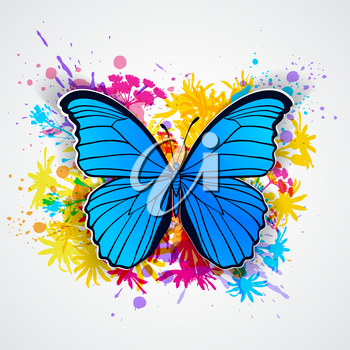 Abstract vector background with blue butterfly and blots