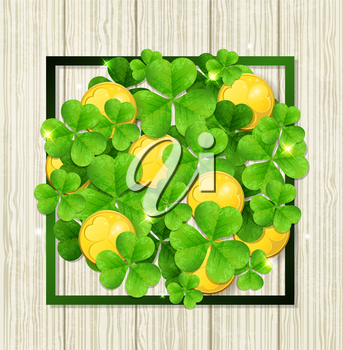 Clover leaves and golden coins in green frame on a wooden background. Abstract design for St. Patrick's day.
