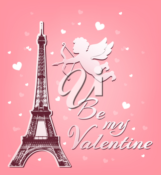 Valentine's day greeting card with paper cupid and Eiffel Tower on a pink background