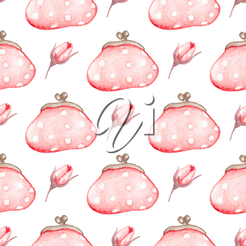 Hand drawn watercolor seamless pattern with pink handbag on a white background