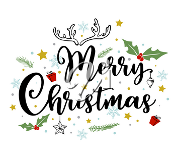 Holiday background with greeting inscription. Hand drawn vector doodle Christmas lettering.