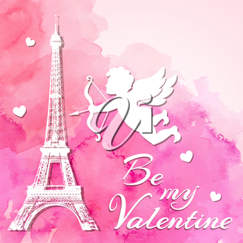 Pink watercolor romantic Valentine background with papercut Eiffel Tower and cupid. Vector illustration.