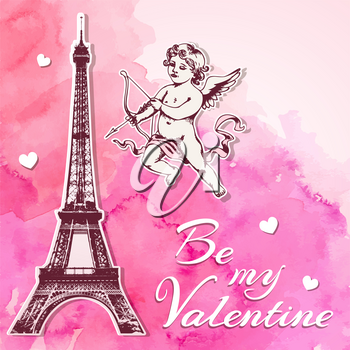 Pink watercolor vintage Valentine background with papercut Eiffel Tower and cupid. Hand drawn vector illustration.