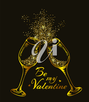 Valentine greeting card with two golden glittering glasses of champagne on a black background. Vector illustration
