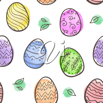 Hand drawn doodle Easter seamless pattern with eggs and watercolor blots on a white background