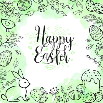 Decorative Easter greeting card with eggs, rabbit, leaves and green watercolor texture. Hand drawn vector illustration.