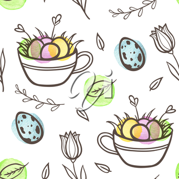 Hand drawn doodle Easter seamless pattern with eggs and florals on a white background. Vector illustration.