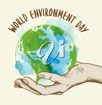 Background with planet Earth in human hand. Ecology concept for world environment day. Hand drawn vector illustration with watercolor texture