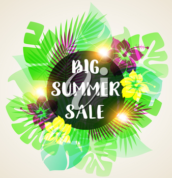 Summer floral vector tropical background with green palm leaves and pink flowers. Abstract banner for seasonal summer sale.