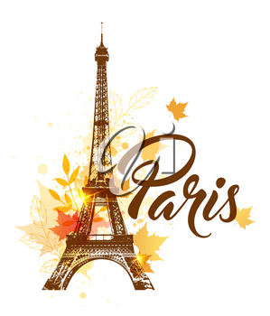 Vector background with Eiffel tower and autumn maple leaves