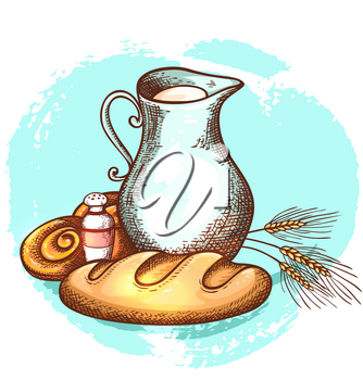 Jug of milk and fresh bread on a blue background. Dairy and bakery products. Hand drawn vector illustration.