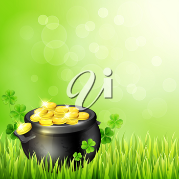 Pot of gold and clover leaves on a green background. Design for St. Patrick's Day. Vector illustration