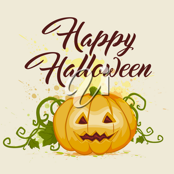 Halloween background with orange pumpkin and greeting inscription