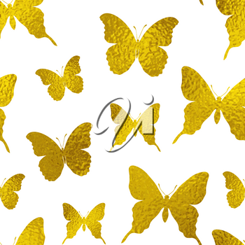 Decorative vector seamless pattern with golden butterflies on a white background