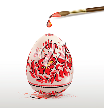Hand painted decorative Easter egg with red floral ornament and paintbrush. Ukrainian traditional folk painting art style. Realistic vector illustration.