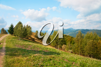 Autumn nature landscape with mountains and trees. Carpathian Mountains. Natural landscapes of Ukraine.