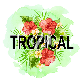 Tropical summer background with green palm leaves, red flowers and watercolor texture. Vector illustration