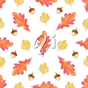 Watercolor autumn floral seamless pattern with acorns and orange oak leaves. Hand drawn nature background