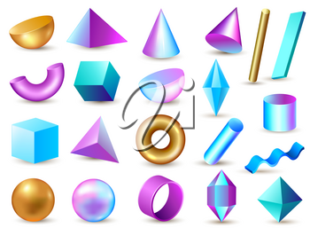 Set of 3d geometric multi-colored bright design elements on a white background. Vector illustration.