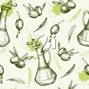 Vintage hand drawn seamless pattern with olives and olive oil. Vector background