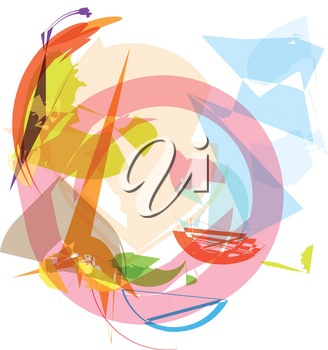 Trendy colorful transparent shapes abstract background illustration
