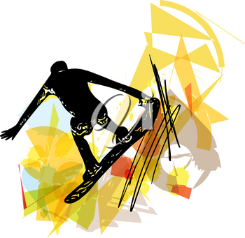 Sketch of Sandboarding colorful abstract illustration