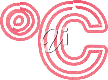 Abstract celcius Symbol made with red marker vector illustration