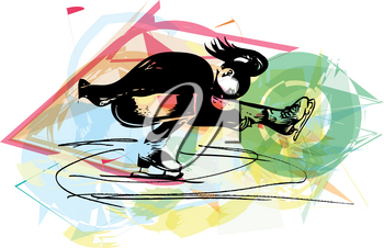 abstract illustration of woman ice skater skating at colorful sports arena