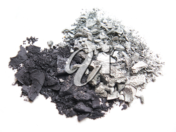 Close up of crushed eyeshadow cosmetic powder on white background