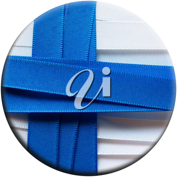 Finland flag or banner made with white and red ribbons
