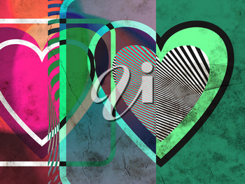 Abstract grunge colorful Heart shape