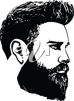 Bearded man faces hipster with haircuts. Men fashion vector for barbershop and logo template. Vector Illustration