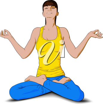 young girl doing yoga and sitting in lotus position
