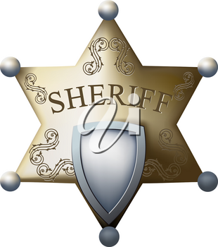 Sheriff's badge with a blank space for the title of and numbers isolated on white background