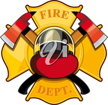 fire department badge with crossed axes, fire helmet against the yellow Maltese cross