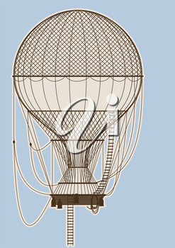 elegant vintage Hot Air balloon on a light blue background