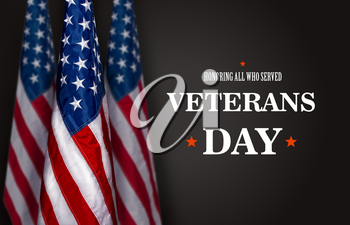 Three star striped flag of the USA on a dark background and the inscription Veterans Day