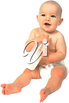 Royalty Free Photo of an Infant Child Sitting With a Bottle