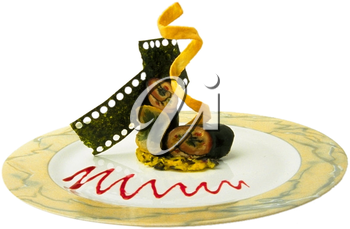 Royalty Free Photo of a Plate of an Appetizer for the Film Industry
