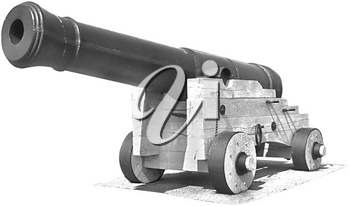 Royalty Free Photo of a Black and White Cannon
