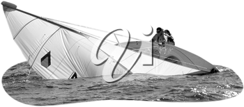 Royalty Free Photo of a Sailboat Capsizing