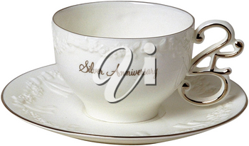 Royalty Free Photo of a Silver Anniversary Tea Cup and Saucer